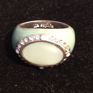 Lia Sophia mint green & crystals ring size 8.25